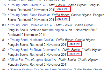 Example of dead link tags in Wikipedia